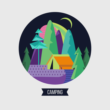 Camping. Campground in the woods. Summer outdoor recreation. Vector illustration. The emblem of tourism. Imagens - 99084346