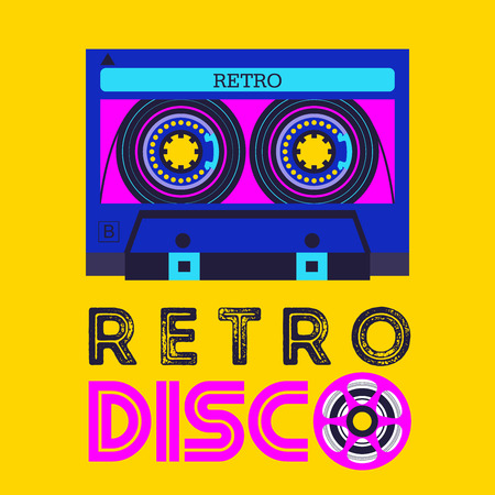 Retro music. Retro disco. Audio cassette.   Vector illustration.