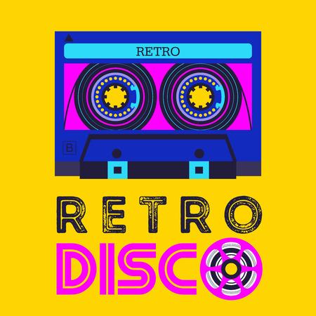 Retro music. Retro disco. Audio cassette.   Vector illustration.