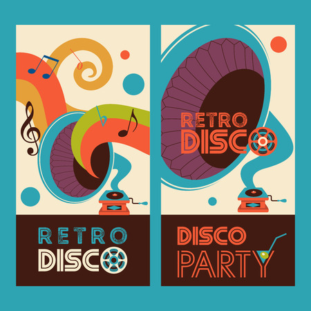 Retro music. Retro disco. Vector illustration with vintage gramophone. Ilustrace