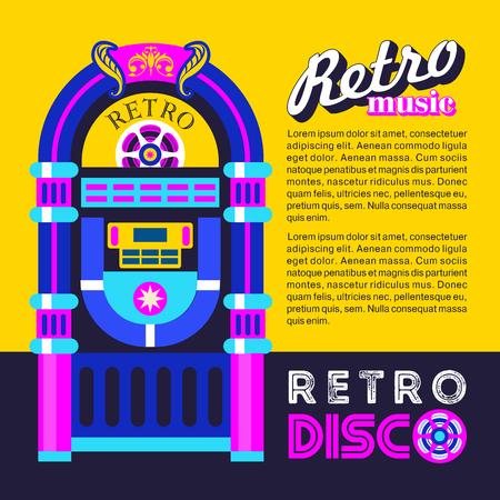 Retro music. An old jukebox. Vector illustration.