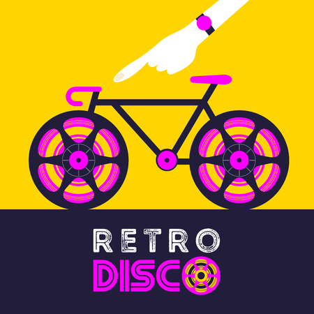 Retro disco. Vector illustration in retro style. Poster music retro party. Bicycle with tape coils instead of wheels. Ilustração