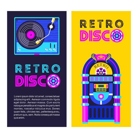 Retro music. An old jukebox. Vinyl record player. Vector illustration.