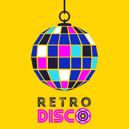 Retro music. Retro disco. Vector illustration with disco ball. Illustration