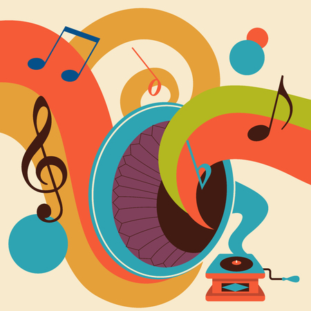 Musica retrò. Discoteca retrò. Illustrazione vettoriale con grammofono vintage.