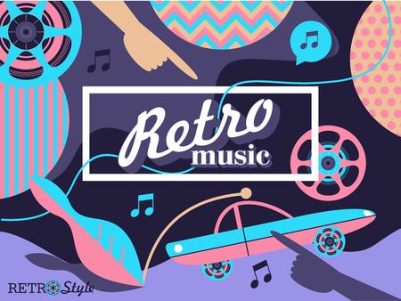 Retro music. Retro disco. Vector illustration. Abstract background with old retro car. Vettoriali