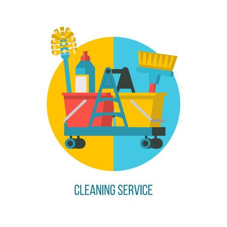 Schoonmaakdienst. Platte vectorillustratie Professionele reiniging van gebouwen. Trolley met schoonmaakproducten.