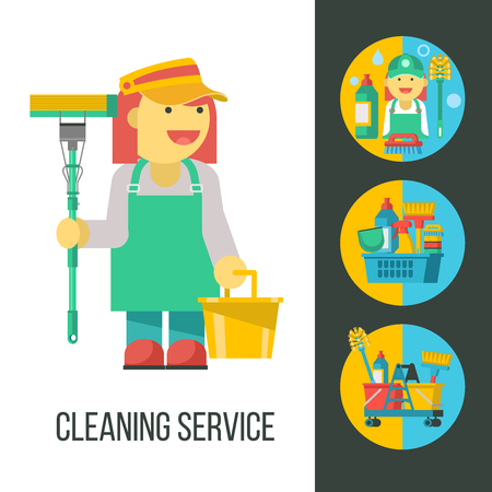 Cleaning service. Cleaning lady with MOP and bucket in hand. Flat vector illustration, set of emblems, logos. Professional cleaning of premises. Set of vector cliparts isolated on white background. Set of cleaning products in a plastic basket, vacuum cleaner, maid, MOP.