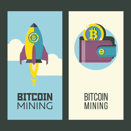 Bitcoin mining. Cryptocurrency is the currency of the future. Wallet with bitcoins. Rocket rushes into the bitcoin space. Conceptual vector illustration.