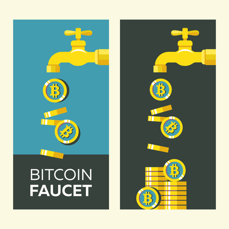 Bitcoin faucet.  Cryptocurrency is the currency of the future.   Conceptual vector illustration.