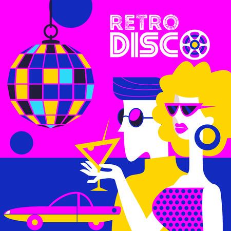 Fiesta disco retro. Ilustración de vector, cartel en estilo retro. Chico y chica con gafas de sol en la discoteca. Chica sosteniendo un cóctel. Colgante bola de discoteca. Ilustración de vector
