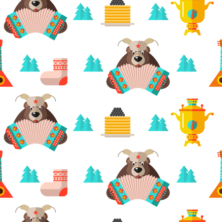 Seamless pattern on the Russian theme. Russian souvenir. Samovar, bear with accordion, pancakes with caviar. Vector illustration on white background. For printing on textiles, paper. Illustration