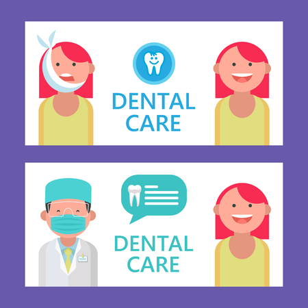 Dental care. Vector illustration with place for text. For the design of flyers and brochures dental clinic.  Dentist and patient with toothache.
