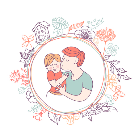 Best dad. Fathers day. Vector illustration. The Pope holds a baby in her arms. Floral wreath with bird and birdhouse. A symbol of family.