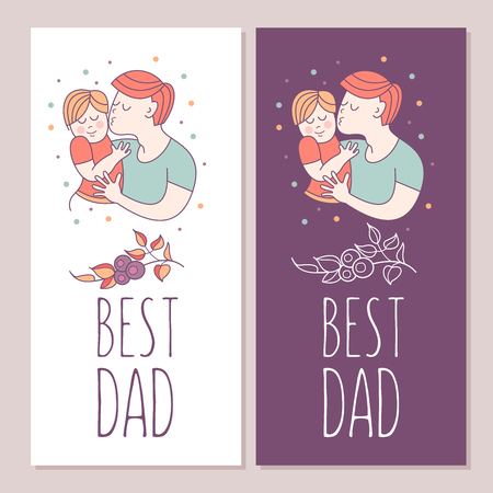 Best dad. Fathers day. Vector illustration. The Pope holds a baby in her arms. Illustration