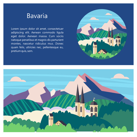 Bavaria, Germany. Beautiful landscapes, traditional architecture of Bavaria. Castles, villages, mountains, fields. Postcards, logos, emblems with space for text. Ilustração