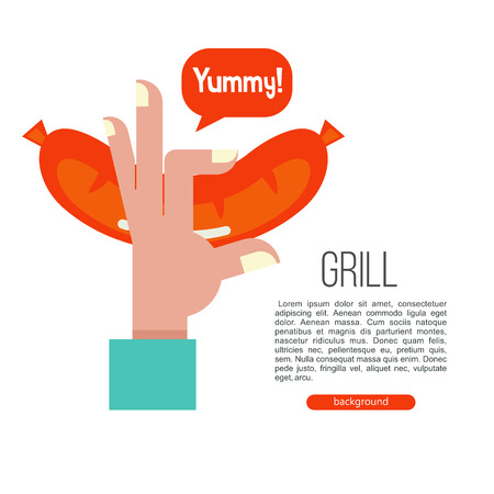 Grilled sausage. Hand holding a beautiful appetizing fried sausage. Vector illustration with space for text.