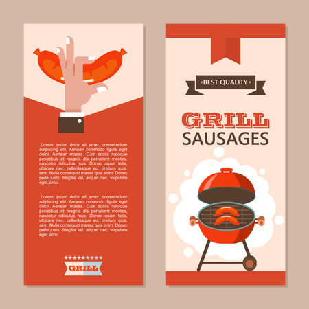 BBQ. Finest beef. Delicious sausages are grilled. Vector illustration, flyer template with space for text. Emblem. Hand holding a mouth-watering fried sausage. Yummy. Best quality.