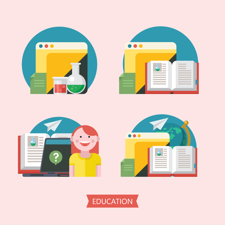 Set of vector emblems on education, school, training. A joyful student, an open book, a chemical flask, a laptop, a globe. Logos of school, College.  イラスト・ベクター素材