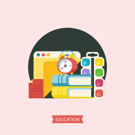 Vector emblem of education. Logo of school, College.  Vector clip art in flat style. Watercolor paints, a stack of books, paper and alarm clock.
