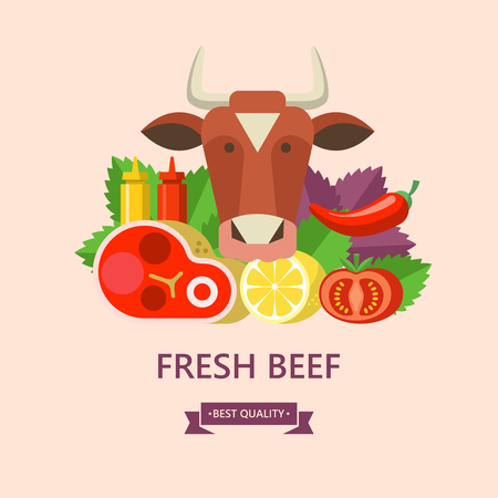 Fresh beef. Delicious steak, Basil leaves, lemon, tomato, ketchup and mustard. The head of a cow. Premium quality beef. Vector illustration. Ilustrace