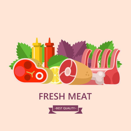 Fresh meat. Set of different types of meat. Big beef steak, pork ham, lamb, lemon, Basil leaves, ketchup and mustard. Vector illustration. Ilustrace