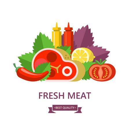 Fresh meat. Big beef steak, lemon, Basil leaves, tomato, ketchup and mustard. Vector illustration.