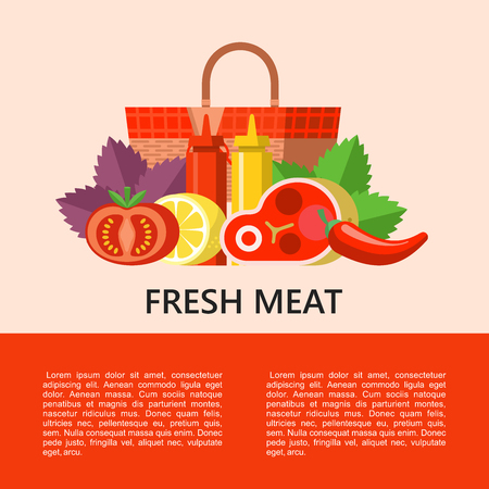 Fresh meat. Still life of appetizing steak, vegetables, Basil leaves, lemon, tomato and chili pepper on the background of a picnic basket. Vector illustration, set of BBQ. Ilustrace