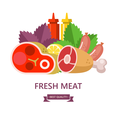 Fresh meat. Set of different types of meat. Big beef steak, pork ham, sausages, lemon, Basil leaves, ketchup and mustard. Vector illustration.