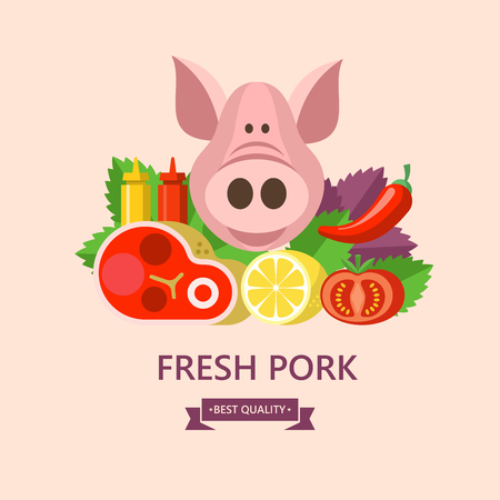 Premium quality pork. Farm meat. Still life of fresh meat, vegetables on the background of Basil leaves and lemon. Big cute pig. Vector illustration. Ilustrace