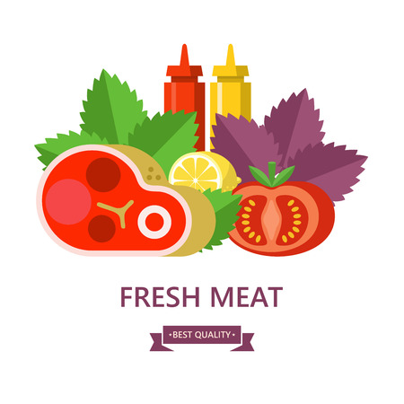 Fresh meat. Big beef steak, lemon, Basil leaves, tomato, ketchup and mustard. Vector illustration.