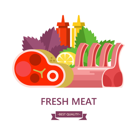 Fresh meat. Set of different types of meat. Big beef steak, lamb, lemon, Basil leaves, ketchup and mustard. Vector illustration.