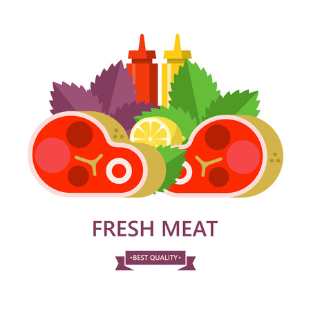 Fresh meat. Big beef steak, lemon, Basil leaves, ketchup and mustard. Vector illustration.
