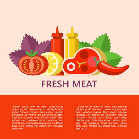 Fresh meat. Big beef steak, lemon, Basil leaves, chili, tomato, mustard and ketchup. Vector illustration with space for text.