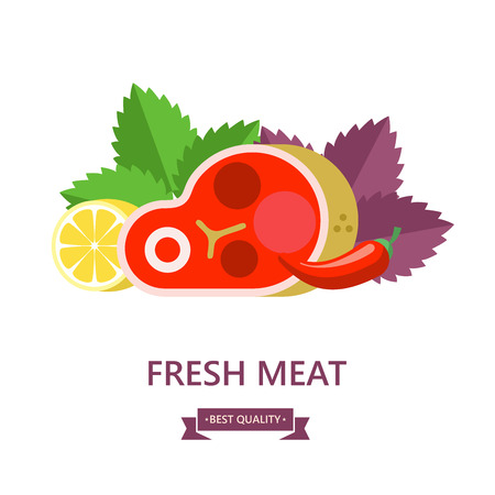 Fresh meat. Big beef steak, lemon, Basil leaves,chili. Vector illustration.