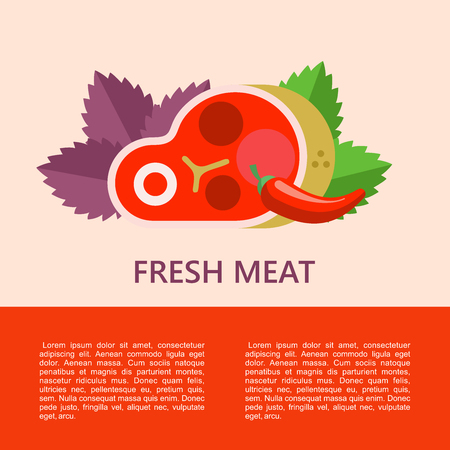 Fresh meat. Big beef steak, Basil leaves,chili. Vector illustration with space for text. Illustration