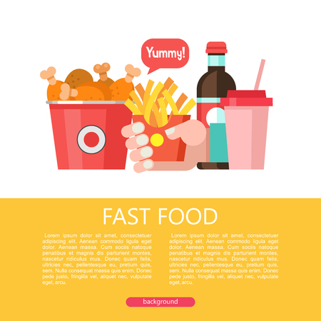 Fast food. Delicious food. Vector illustration in flat style. A set of popular fast food dishes. Bucket with fried chicken legs, French fries, drink and milkshake.