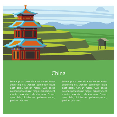 Magnificent, magical China. Vector illustration of emblem with place for text. Beautiful scenery, Chinese traditional houses. Rice fields, terraces. Çizim