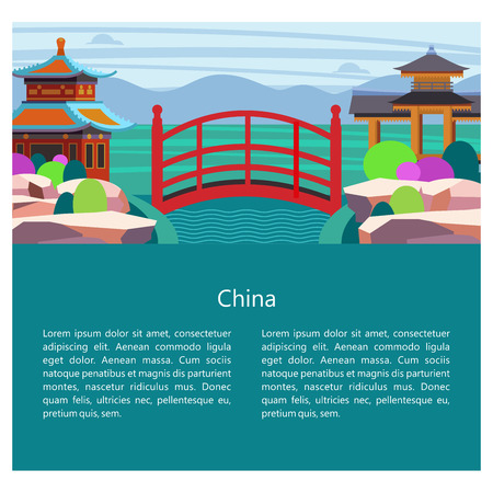 Magnificent, magical China. Vector illustration of emblem with place for text. Beautiful scenery, Chinese traditional houses. Chinese red bridge.