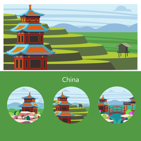 Magnificent, magical China. Vector illustration of emblem with place for text. Beautiful scenery, Chinese traditional houses. Rice fields, terraces. 向量圖像