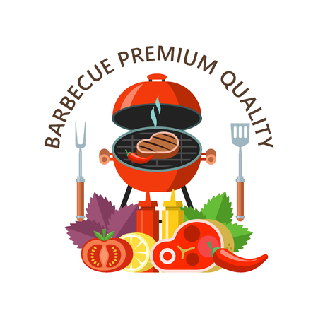Premium quality barbecue. Grilled delicious steak. Still life of fresh meat, vegetables on the background of Basil leaves and lemon. Vector illustration. Ilustrace