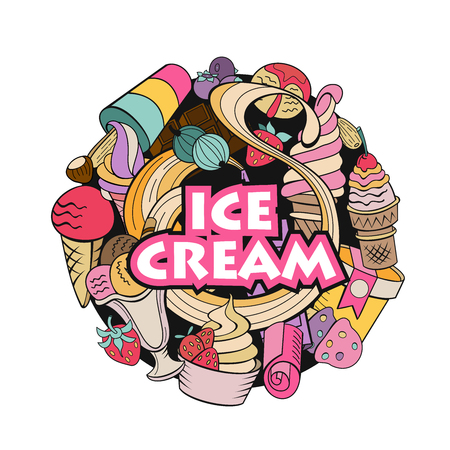 Hand drawn ice cream. Miscellaneous ice cream with topping, nuts, berries, chocolate and cookies. Vector Doodle illustration.