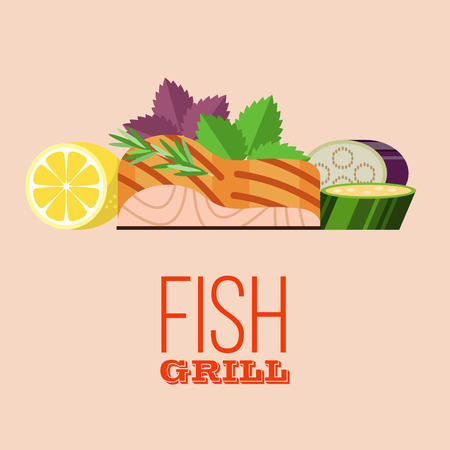Grilled fish. Delicious grilled salmon surrounded by vegetables. Still life of fish, zucchini, lemon, rosemary, Basil, eggplant. Isolated on white background. Vector illustration in flat style.
