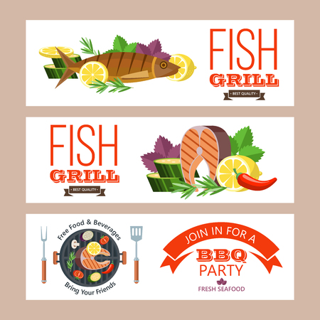 Barbecue party. Colorful invitation. Fish on the grill. Appetizing salmon with lemon on the grill surrounded by vegetables and corn. Trout with lemon on the grill. Vector illustration, emblem. Isolated on white background.