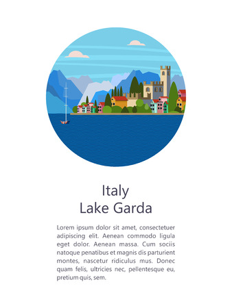 Italy. Lake Garda. City Salo. Vector illustration. Postcard with sights. There is room for text.