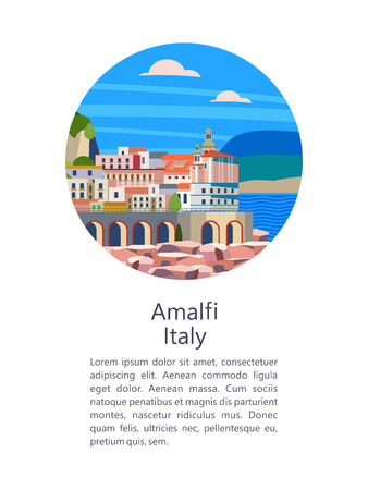 Amalfi Coast, Italy. Seaside resort town. Vector illustration. Postcard with sights. There is room for text.