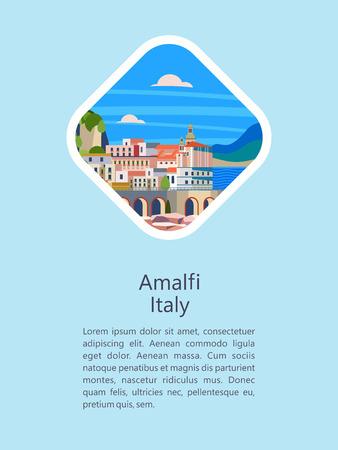 Costa de Amalfi, Italia. Ciudad balneario. Ilustración de vector. Postal con miras. Hay espacio para texto.