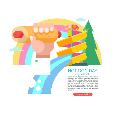 Hot dog. Hand holding a hot dog, sausage in a bun. Fast food on vacation in the water Park. Scene with a water slide in the water Park, rainbow and forest. Vector illustration. There is room for text.
