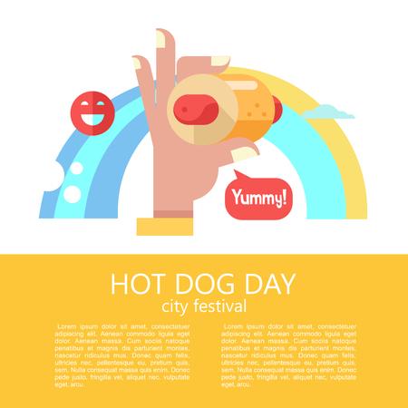Hot dog. Hand holding a hot dog, sausage in a bun. Hot fast food. Vector illustration. Illustration