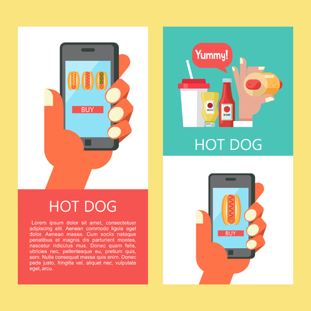 Hot dog. Sausage in a bun with mustard. The hand holds a smartphone. Hot fast food.  Order hot dogs through the app on your smartphone. Hot dog in hand, standing next to a bottle of mustard and ketchup. A plastic Cup of drink. Vector illustration with place for text. Illustration